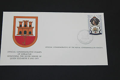 Gibraltar 1977 Qe2 Silver Jubilee On Scarce Royal Society First Day Cover