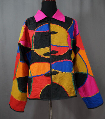 Vintage 90's Anage Jacket Size Medium Wearable Art, Art To Wear, Colorful