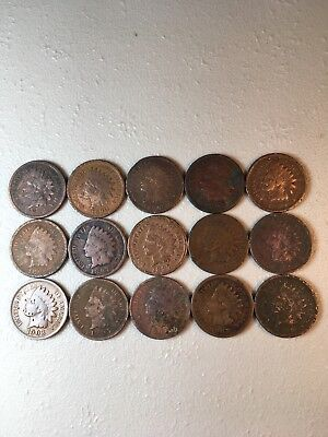 15 Indian Head Ih Pennies Cents Coin Collection Lot Old Rare Antique No Holes