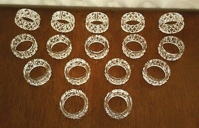 16 Vintage West German Cut Crystal Napkin Rings !!!