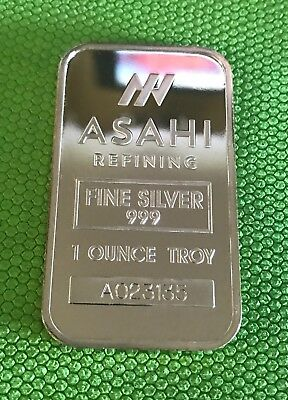 ASAHI Refining .999 Fine Silver 1 oz investment Bar - Various Serial Numbers.