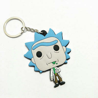 New double sided Rick and Morty Rick Sanchez Soft Rubber Key chain Key ring·