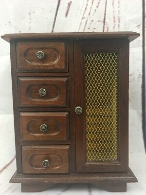 VTG Tower Wooden Musical Jewelry Box  4 drawers London Leather 1960-70s