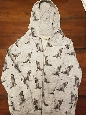 ZARA BOYS Wolf Sweatshirt Long Sleeve Full Zip Size 7