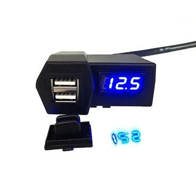 Motorcycle USB Charger Red/Blue Voltmeter  Multi-Function With Mountable Handle
