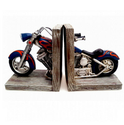 Blue Frame Motorcycle Bookend for Men Bike Lovers Dads Fathers Day Gift Idea