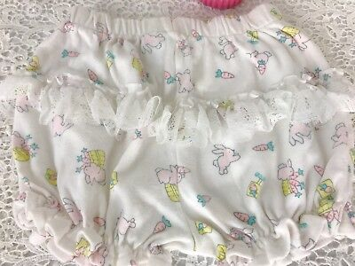 VIntage Baby Diaper Cover 3-6 Mo Cute Pastels Bunnies Lace