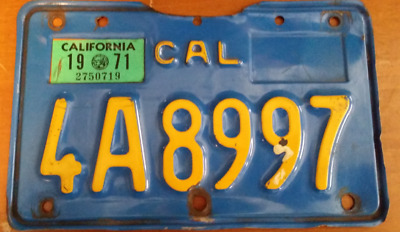1970 California motorcycle license plate YOM DMV ok