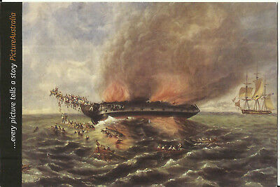 "Art Postcard, Burning of the Barque ""India"" which Sank in 1841, Australia Museum"