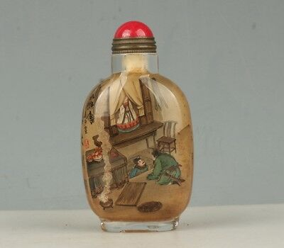 Chinese Exquisite Handmade the ancients Text Glass snuff bottle
