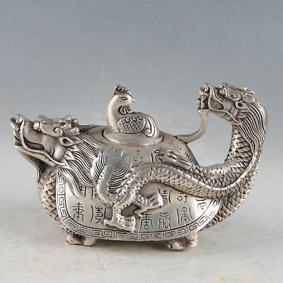 Silvering Copper Dragon Turtle Teapot Made During The DaMIng XuanDe a6010