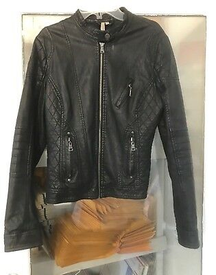 Women Black Faux Leather Motorcycle Short Cropped Jacket S NOT MUCH WORN