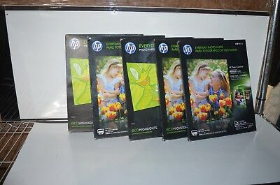 5 Packs of HP Everyday Photo Paper, Glossy 50 Sheets Per-Pack 8.5x11