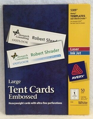 AVERY LARGE TENT Cards Embossed Templates 5309 Laser/Ink Jet White ...