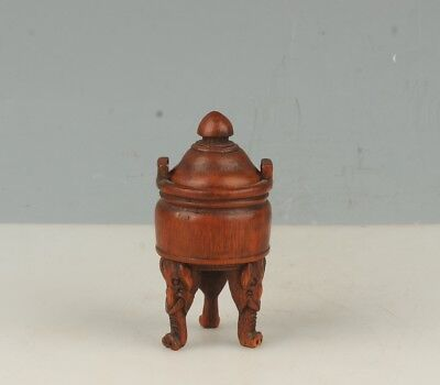 Chinese Exquisite Hand-carved Elephant carving bamboo incense burner