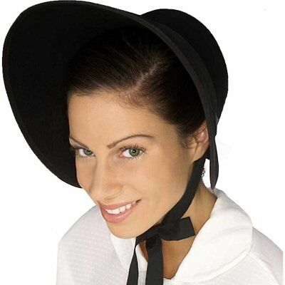Felt Historical Costume Bonnet Black