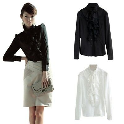 Lady Vintage Victorian Slim OL Shirts Long Sleeve Lace Ruffle Trim Tops Blouses