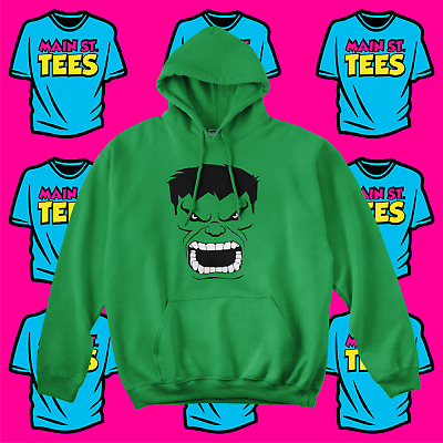 The INCREDIBLE HULK Face Hoodie Avengers Thor Planet Hulk Adult & Youth Sizes