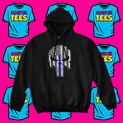 PUNISHER Skull Thin Blue Line Hoodie Police Blue Lives Matter Adult Youth Sizes