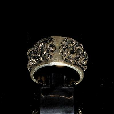 Bronze Mens Costume Band Ring Medieval Knight Dragon Slayer Antiqued Any Size