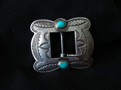 Gorgeous OLD Navajo Silver Natural Turquoise Buckle EXC! Beautiful Stamping!