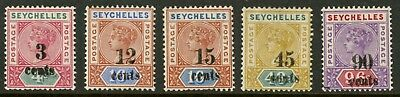 Seychelles  1893  Scott # 22-26  Mint Lightly Hinged Set