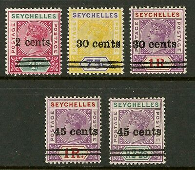 Seychelles  1902  Scott # 33-37  Mint Lightly Hinged to Hinged Set
