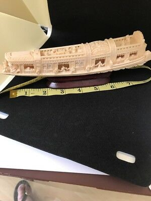 Vintage Hand Carved Chinese Bovine Bone Luxury Boat/Ship