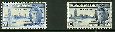 Seychelles  1946  Scott # 149-150  Mint Never Hinged Set