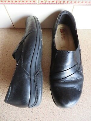 'PLANET SHOES' Black Leather Casual/Work Side Stretch Panel Shoes - 9