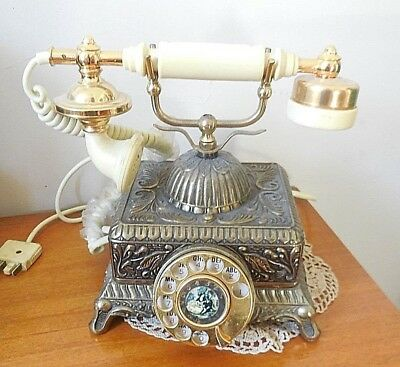 Vintage French Victorian Style Gold  Rotary Dial Telephone Retro
