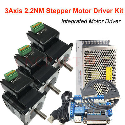 CNC Router Kit 3Axis 4Axis Nema23 Stepper Motor 2.2Nm Integrated Driver 312oz.in