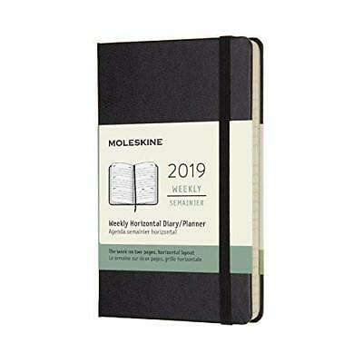 2019 Moleskine Black Horizontal Pocket Weekly 12-Month Diary Hard BOOK NEW