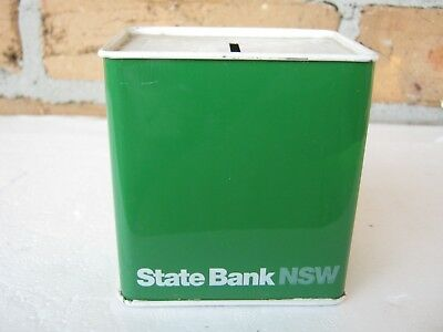 Vintage State Bank Of Nsw Green Enamel Money Box .  Un
