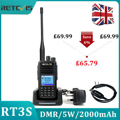 Retevis RT3S Dual Band ( Uhf/Vhf ) Dmr Walkie Talkie Upgraded Version of RT3+USB