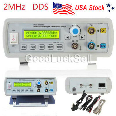 2MHz Dual Channel DDS Function Signal Generator Sine/Square Wave Sweep +Counter