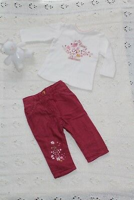 Cute girls Woodland top and cord trousers set Autumn 3-6 months *Pre-loved*