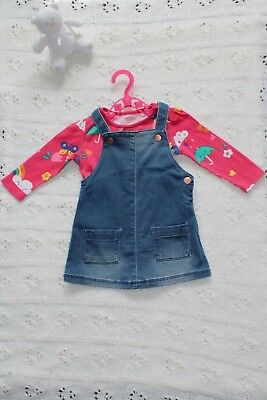Cute girls rainy days weather dungarees & vest set Autumn 6-9 months *Pre-loved*