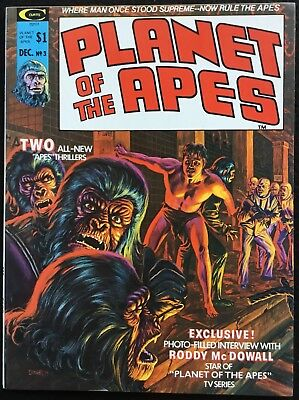 PLANET OF THE APES - 3, 1974, Stories, Pics, B&W Mag, Curtis, VF+