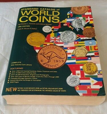 World Coins Catalog 1981 Edition By Chester L. Krause 2000 coin collectors guide