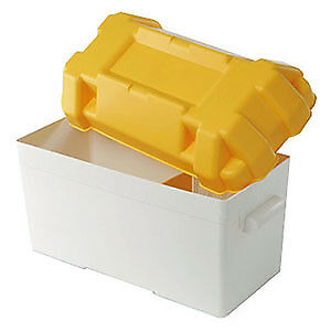 Large Leisure Battery Box 110Amp Complete With Fastening Strap, Buckle & Divider