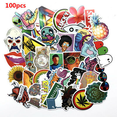 100Pcs Stickers Skateboard Graffiti Laptop Car Luggage Guitar Decals Mix Lot~~