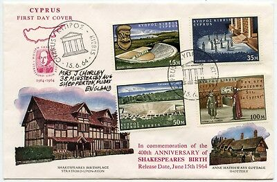Cyprus 1964 Shakespeare Fdc Illustrated First Day Cover