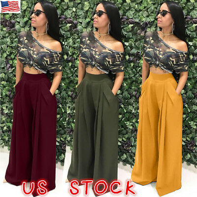 US Womens Palazzo Wide Leg Trousers High Waist Long Loose Casual Pants Culottes