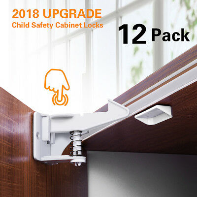 12x Child Baby Safety Adjustable Lock Latches Self-adhesive for Cupboard Cabinet