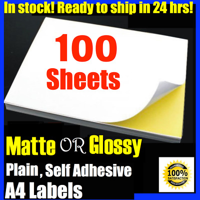 A4 Size White Self Adhesive Sticker Paper Sheet Label Laser Print GLOSS OR MATTE