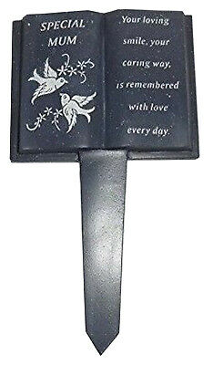 Slate Grey Memorial Book Dove & Diamante Grave Plaque Ornament Tribute for Mum