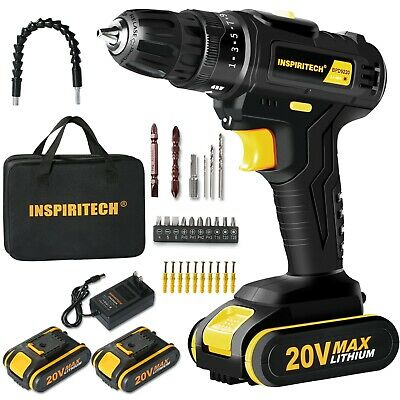 12-Volt Max Li-Ion 3/8-Inch 2 Speed Electric Cordless Drill/Driver with Bits Set