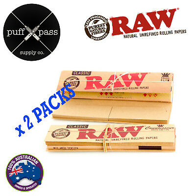 2 Packs - Raw Classic Connoisseur King Size Slim Rolling Papers + Tips - Smoking
