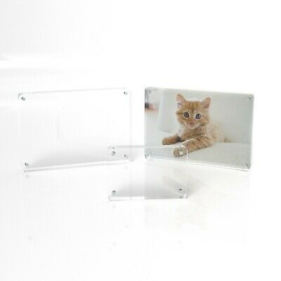 6x4 7x5 8x6 Freestanding Clear Acrylic Magnetic Picture Photo Frame - Rounded